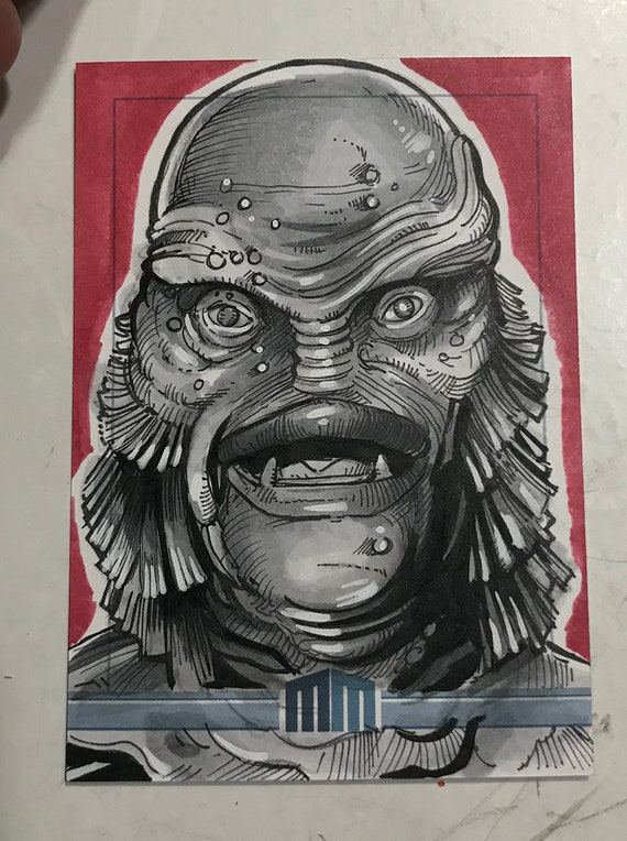 Universal Monsters Gill Man Sketch Card
