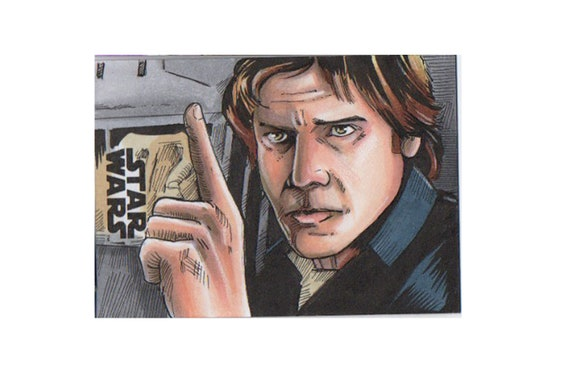 Star Wars Galaxy 2018 Artist Return Sketch Card- Han Solo