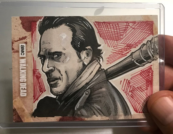 Topps Walking Dead Hunters and Hunted Artist Return sketchcard: Negan