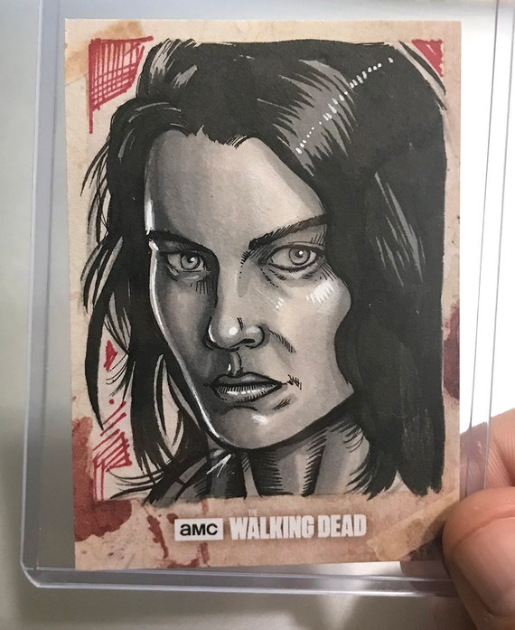 Topps Walking Dead Hunters and Hunted Artist Return sketchcard: Maggie