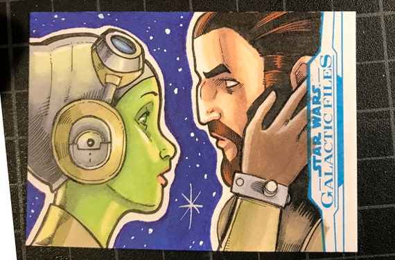 Star Wars Galactic Files Artist Return Sketch Card- Hera and Kanan