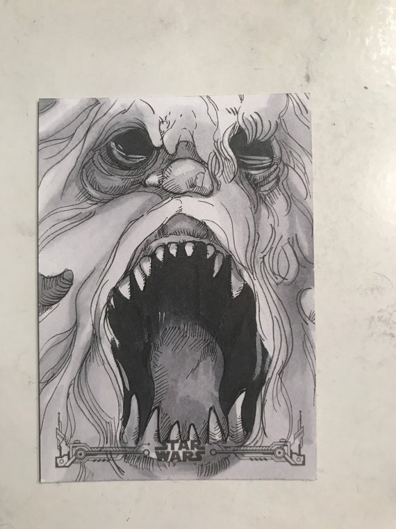 Empire Strikes Back Black and White Artist Return: Wampa