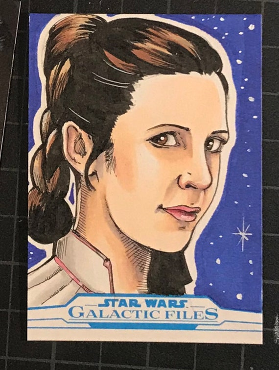 Star Wars Galactic Files Artist Return Sketch Card- Princess Leia