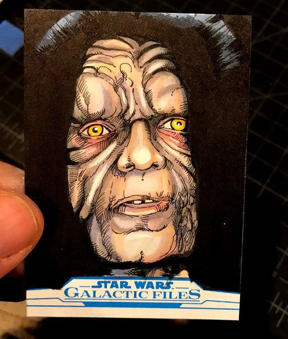 Star Wars Galactic Files Artist Return Sketch Card- Emperor Palpatine