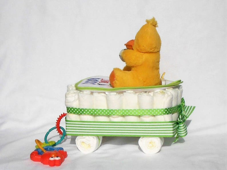 Digital Thermometer and More Green Ribbon Wagon Diaper Cake with Yellow Duck Baby Bib Baby Spoon Sesame Street Teether
