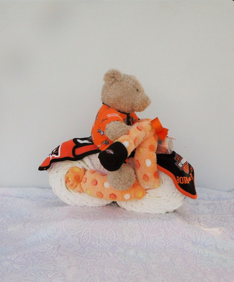 Orange/black Harley Davidson Diaper Cake Motorcycle with Baby Bottle, Receiving Blankets and Bibs