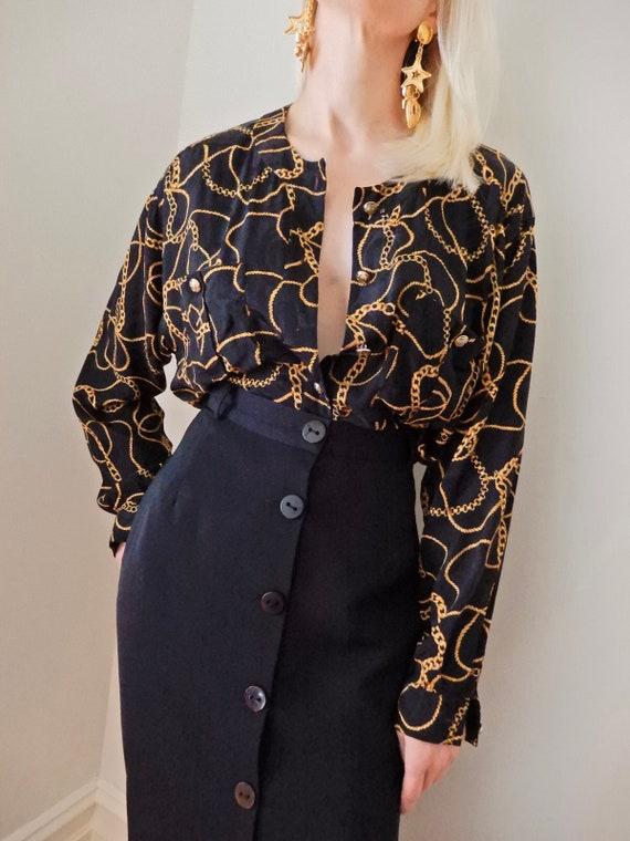 VINTAGE Designer-Style-Luxury 80s 90s Pure-Silk Bl