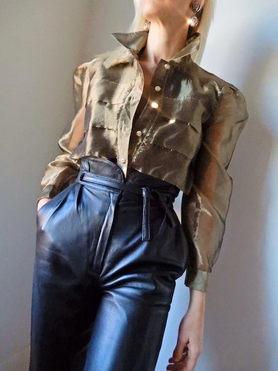 VINTAGE Designer-Luxury 80s Sheer Olive-Gold Metal