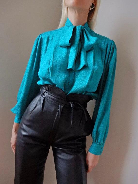 VINTAGE Designer-Luxury 90s Teal-Blue Paisley Silk