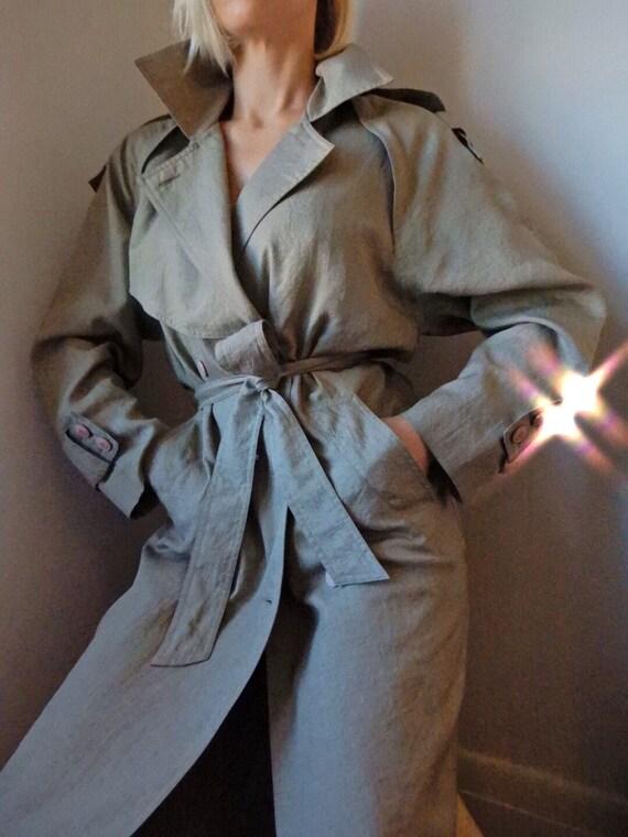 VINTAGE Olive Green Linen-Look Trench Coat