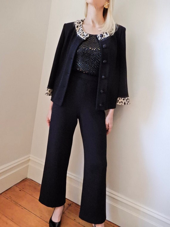 VINTAGE Designer-Style-Luxury 90s Black Wool Knit