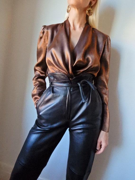 VINTAGE Designer-Luxury 80s Bronze Metallic Cowl-N