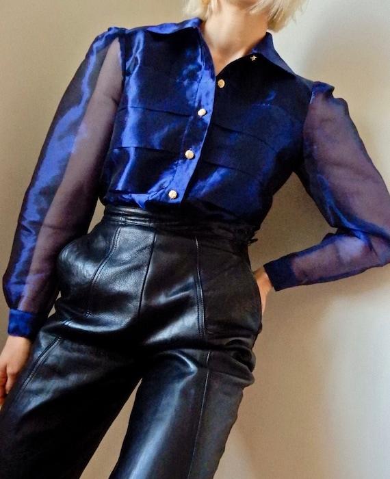 VINTAGE Sheer Empire Blue Organza Long Sleeve Body
