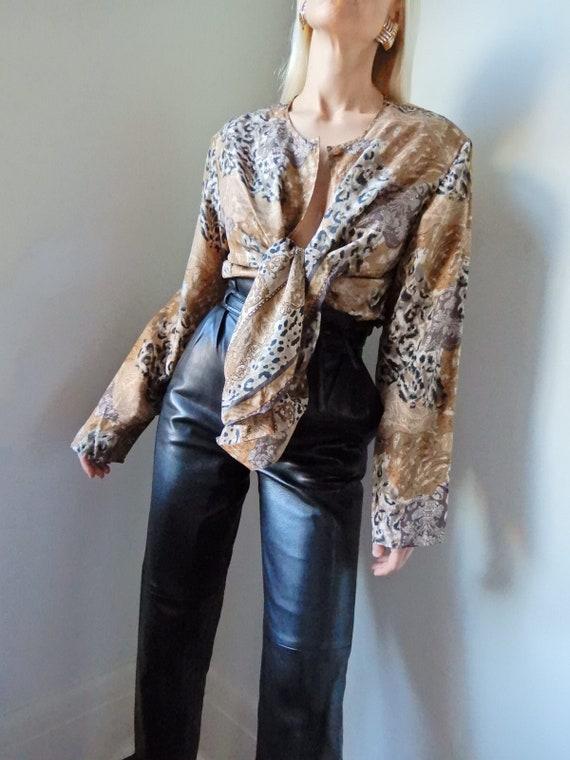 VINTAGE Designer-Luxury 90s 100% Pure Silk Leopard