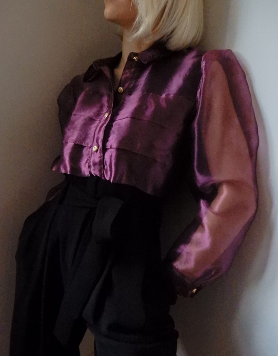 VINTAGE Sheer Purple Organza Long Sleeve Body Suit
