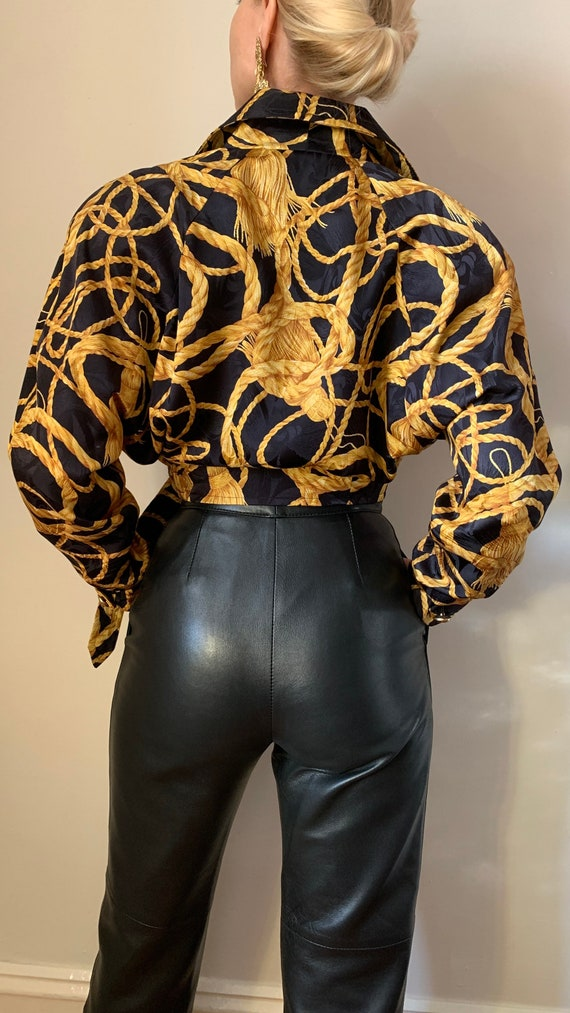 VINTAGE Designer-Luxury 80s 90s Midnight Blue Bla… - image 6