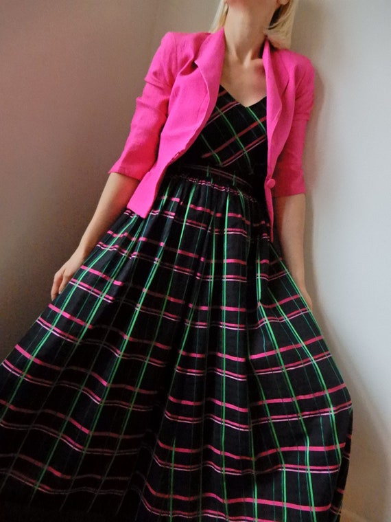 VINTAGE Chanel-Style 90s Hot-Pink 100% Pure Raw S… - image 1