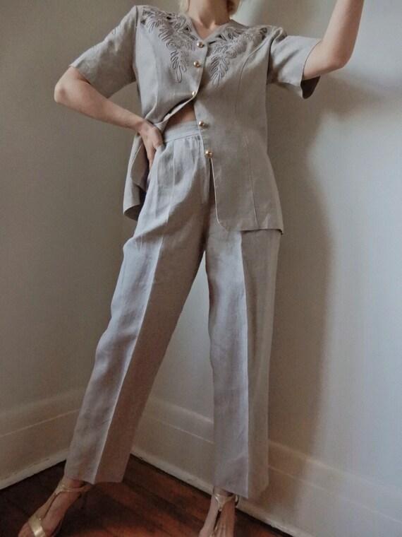 VINTAGE Designer-Luxury 90s Cream/Beige Linen 2-P… - image 2