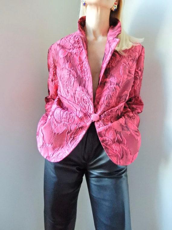 VINTAGE Designer-Luxury 90s Pure 100% Silk Hot Pin