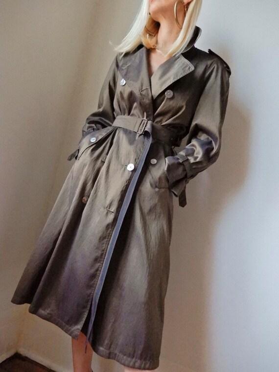 VINTAGE Designer-Luxury 90s Metallic Khaki Olive-G