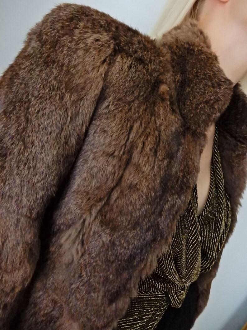 VINTAGE Chocolate Brown Rabbit Fur Jacket