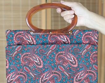 1970's Paisley Top Handle Tote Bag