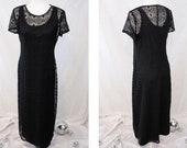 1990s Black Crochet Midi Dress