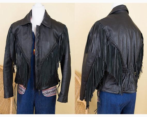 Vintage 1980s Black Fringe Genuine Leather Jacket