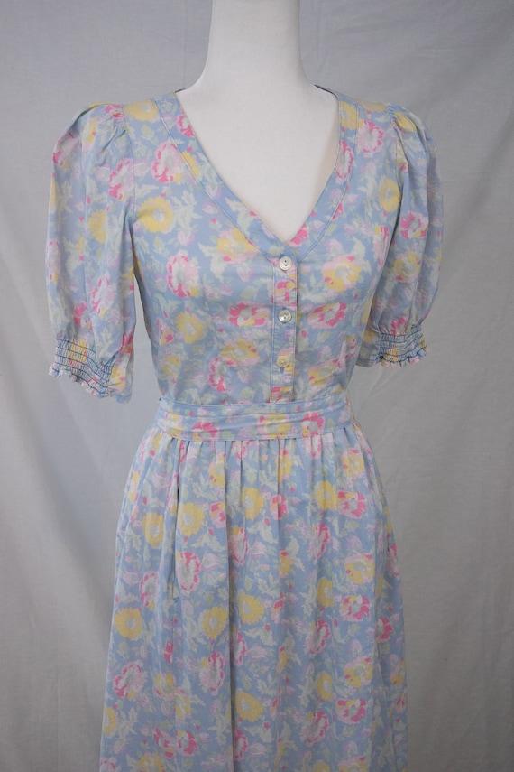1980s Pastel Floral Laura Ashley Dress - image 8