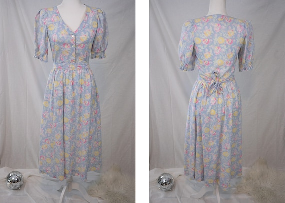 1980s Pastel Floral Laura Ashley Dress - image 1