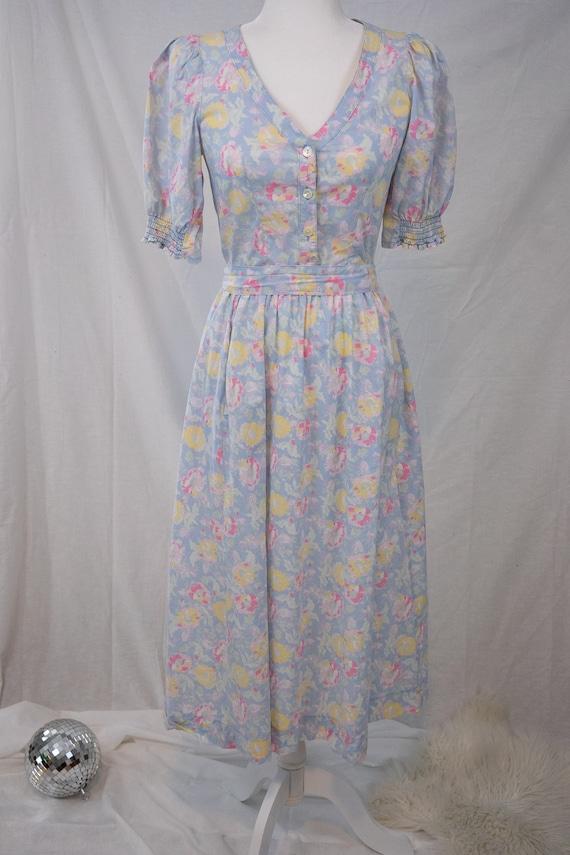 1980s Pastel Floral Laura Ashley Dress - image 10
