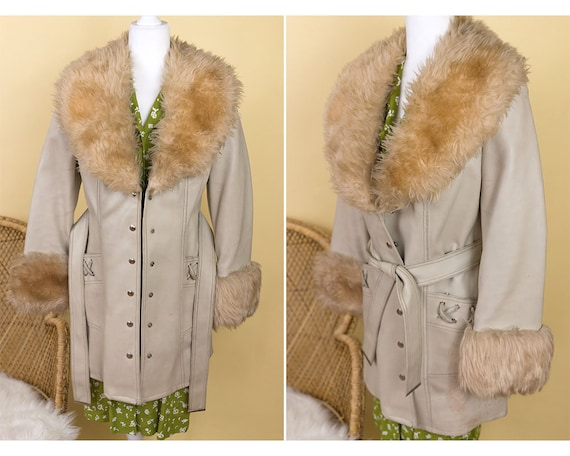 Vintage Faux Leather and Fur Penny Lane Coat