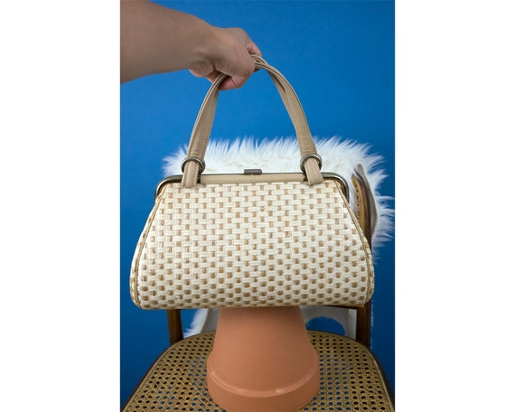 Vintage 1960s Checkered Straw Top Handle Bag
