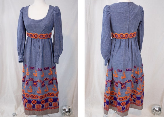 1970s Embroidered Maxi Dress