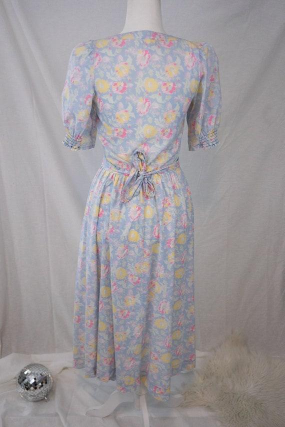 1980s Pastel Floral Laura Ashley Dress - image 6