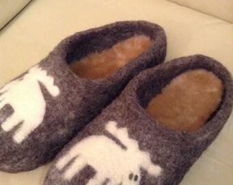 "Handmade Felted Slippers ""Moose"""
