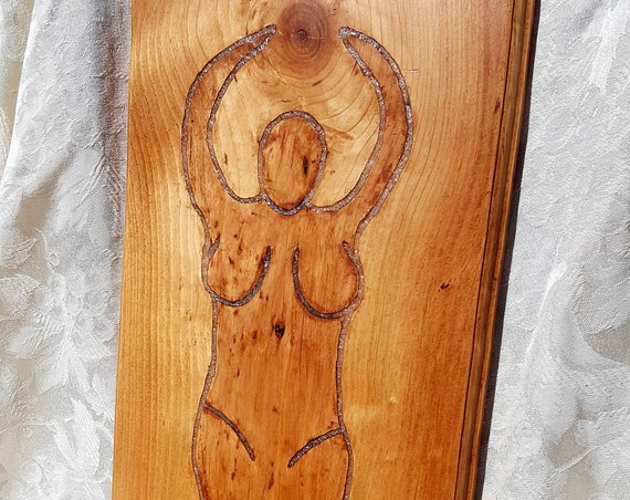 Goddess with Moon Stone Inlay Wall Decor