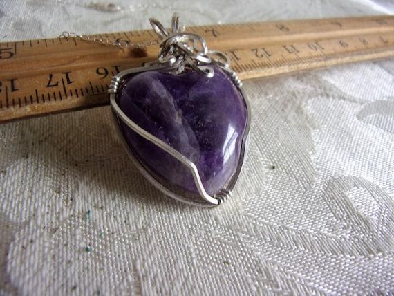 Amethyst in Silver - Heart Shaped