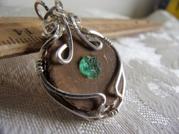 Rough Emerald and Oak Pendant Necklace