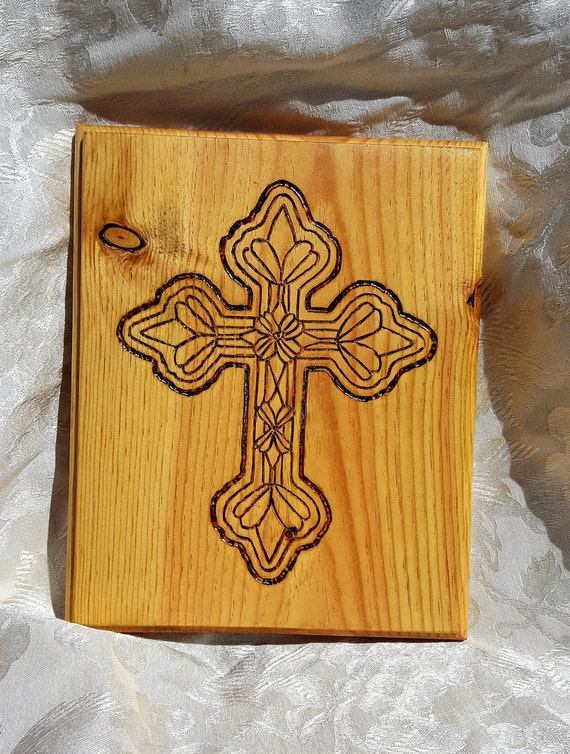 Celtic style Cross - etched and pyrographed