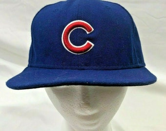 newest d7abf f46c7 Chicago Cubs Fitted Hat Blue New Era 59Fifty Size 7 1 8 MLB Authentic  Collection