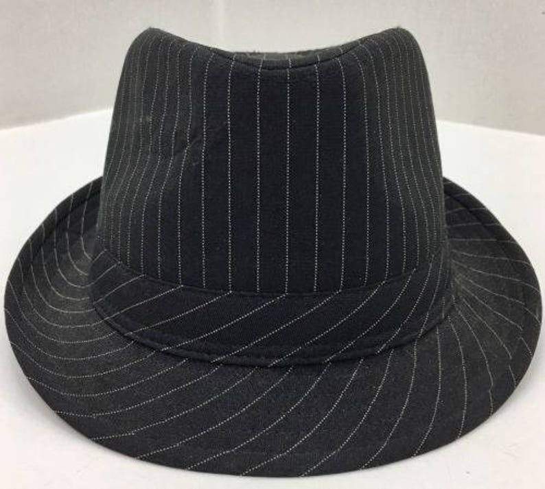 3fec71cde am's Rock Headwear Black with White Pinstripe Fedora