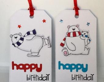 Set of 2 Handmade bear birthday gift tags