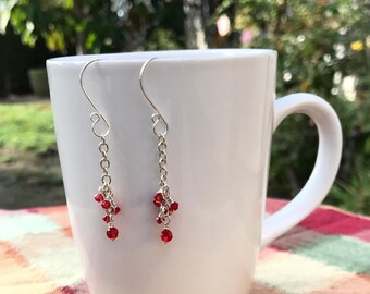 Sterling Silver Cable Chain Red Crystal Dangle Earrings