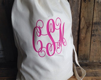 Monogrammed Laundry Bag College Laundry Bag Large Canvas Laundry Bag Camping Bag