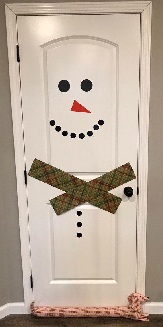 Snowman Door Decal Christmas Door Decal Snowman Vinyl Door
