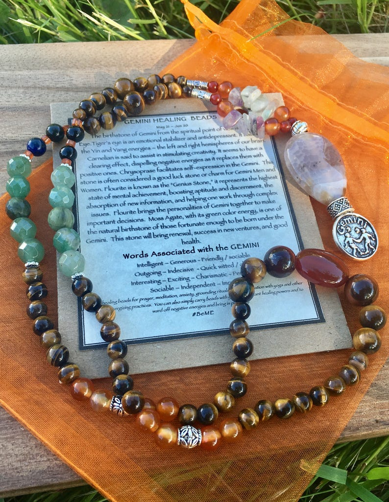 Gemini prayer beads, zodiac, mala beads, birthday gift, meditation beads,  calming chakra stones, anxiety beads, healing stones