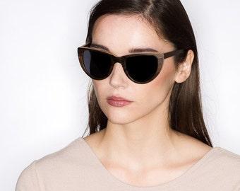 Handmade Cateye Sunglasses, Dark Wood Cat Eye Shades   Womens Sunglasses   Sunglasses for Women