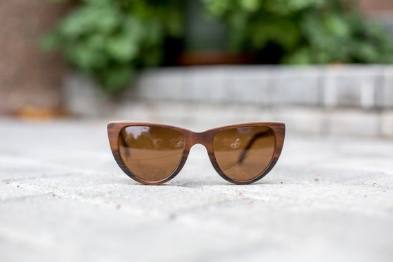 a6a83af9a0 Propwood Cat Eye Sunglasses For Women Polarized Brown Wood