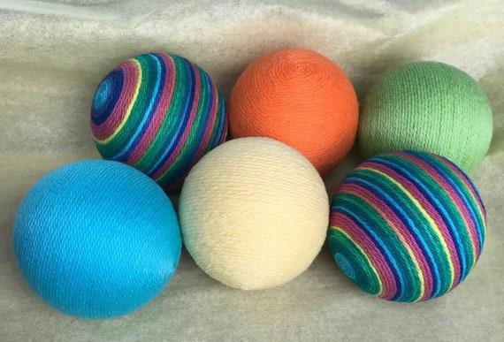 Aqua Lime Green Orange Yellow And Multi Colored Yarn Balls Etsy